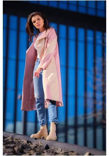 Dámský dlouhý semišový kabát s páskem v růžovo-béžové barvě
