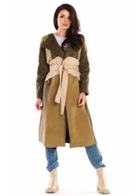 Khaki dlouhý semišový kabát s páskem pro dámy