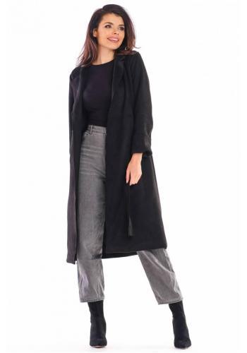 Semišový dámský kabát černé barvy s páskem