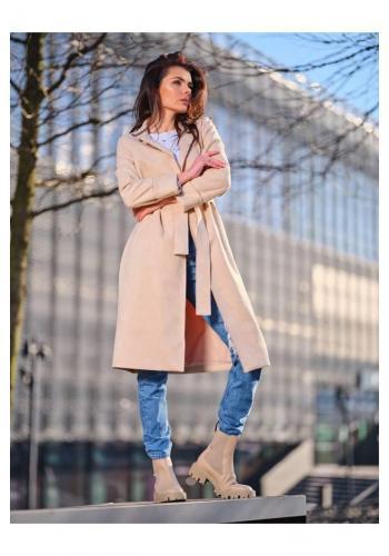 Dámský semišový kabát s páskem v béžové barvě