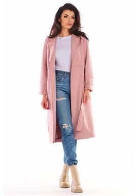 Růžový semišový kabát s páskem pro dámy