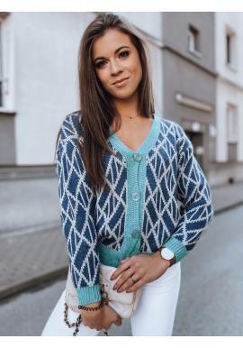 Krátký dámský svetr tmavě modré barvy se vzorem