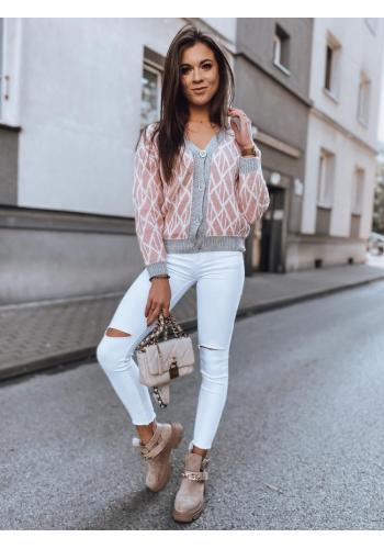 Dámský krátký svetr se vzorem v růžové barvě
