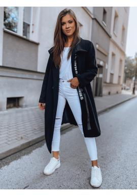Asymetrický dámský kabát černé barvy s límcem