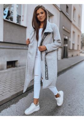Dámský asymetrický kabát s límcem v světle šedé barvě