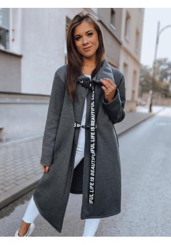 Tmavě šedý asymetrický kabát s límcem pro dámy