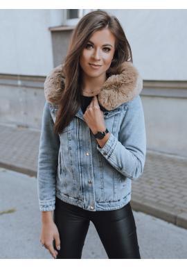 Dámská oboustranná bunda s kapucí v světle modré barvě