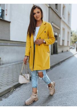 Dvouřadý dámský kabát žluté barvy s páskem