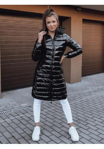 Dámská dlouhá prošívaná bunda s kapucí v černé barvě
