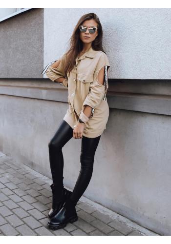 Stylová dámská bunda béžové barvy s výřezy na rukávech