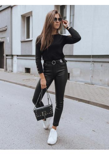 Dámské přiléhavé voskované kalhoty v černé barvě