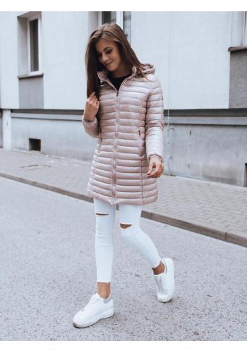 Dámská prošívaná bunda s kapucí v růžové barvě