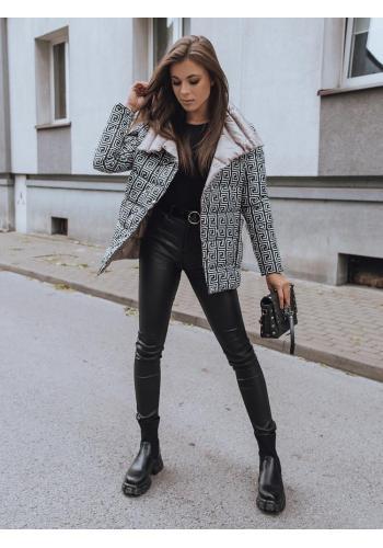 Oboustranná dámská prošívaná bunda khaki barvy s potiskem
