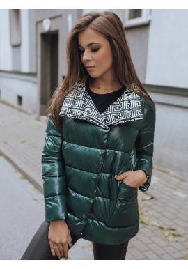 Zelená oboustranná prošívaná bunda s potiskem pro dámy
