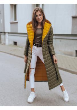 Dlouhá dámská prošívaná bunda olivové barvy s páskem