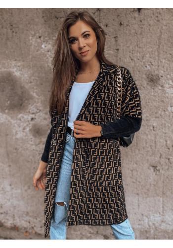 Vzorovaný dámský kabát alpaka černo-hnědé barvy