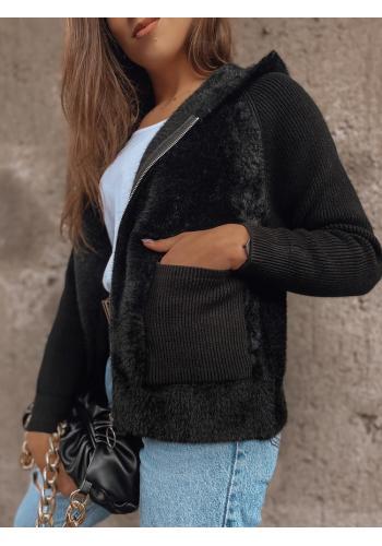 Černý krátký kabát s kapucí pro dámy