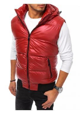 Prošívaná pánská vesta červené barvy s odepínací kapucí