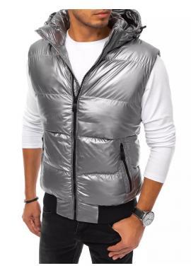 Stříbrná prošívaná vesta s odepínací kapucí pro pány