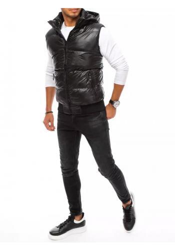 Pánská prošívaná vesta s odepínací kapucí v černé barvě