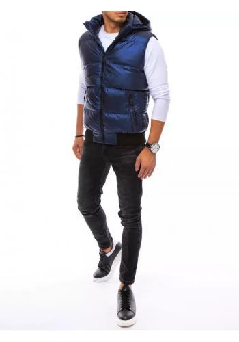 Prošívaná pánská vesta tmavě modré barvy s odepínací kapucí