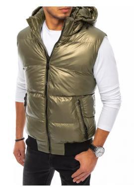 Zlatá prošívaná vesta s odepínací kapucí pro pány