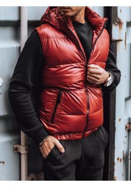 Pánské prošívané vesty s odepínací kapucí v červené barvě