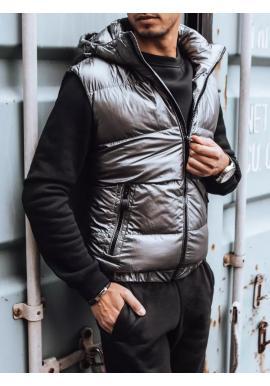 Prošívaná pánská vesta tmavě šedé barvy s odepínací kapucí