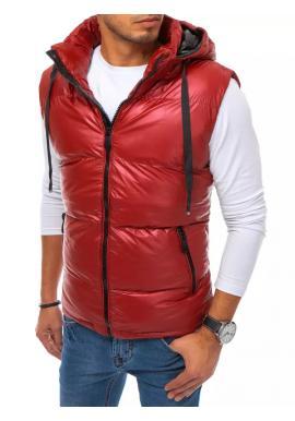 Červená prošívaná vesta s odepínací kapucí pro pány