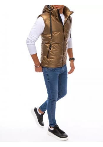 Prošívaná pánská vesta hnědé barvy s odepínací kapucí