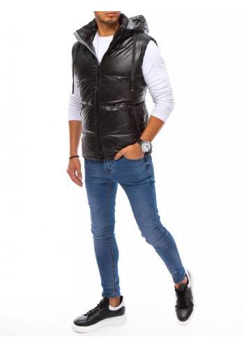 Černá prošívaná vesta s odepínací kapucí pro pány