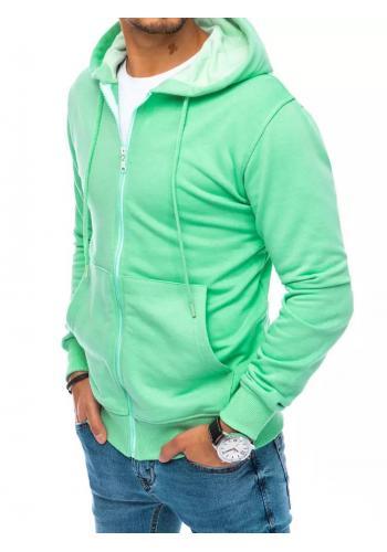 Pánská zapínaná mikina s kapucí v světle zelené barvě