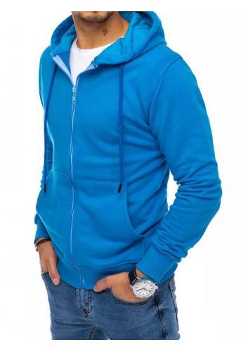 Pánská zapínaná mikina s kapucí v modré barvě