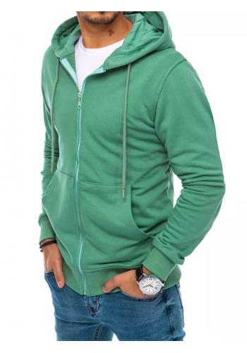 Zelená zapínaná mikina s kapucí pro pány