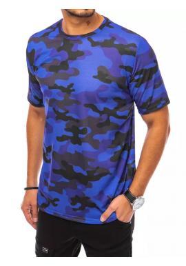 Pánské maskáčové tričko s krátkým rukávem v modré barvě
