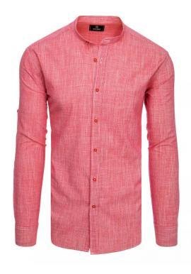Červená bavlněná košile se stojáčkem pro pány