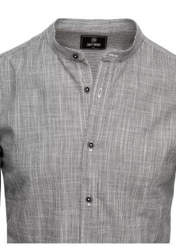 Bavlněná pánská košile šedé barvy se stojáčkem