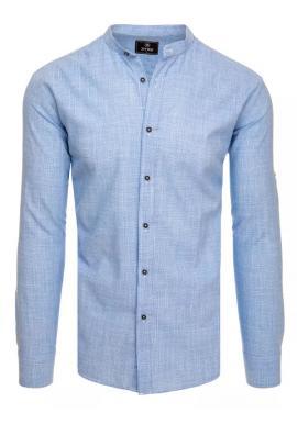 Dámská bavlněná košile se stojáčkem v světle modré barvě