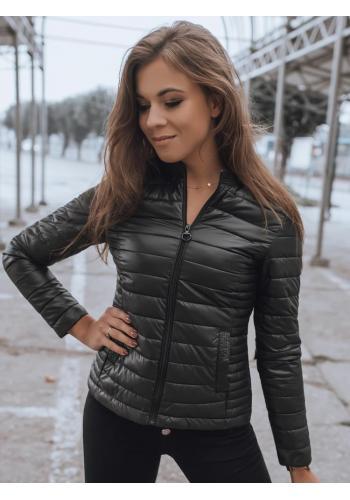 Černá prošívaná bunda bez kapuce pro dámy