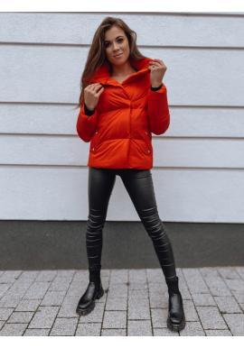 Přechodná dámská bunda červené barvy s límcem