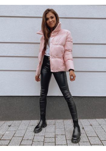 Dámská přechodná bunda s límcem v růžové barvě
