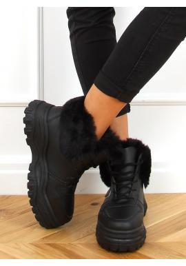 Kotníkové dámské tenisky černé barvy s vysokou podrážkou