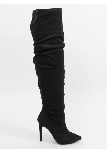 Černé nařasené kozačky nad kolena se štíhlým podpatkem pro dámy
