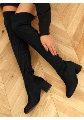 Dámské elastické kozačky nad kolena se širokým podpatkem v černé barvě