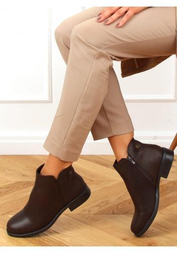 Dámské klasické kotníkové boty v tmavě hnědé barvě