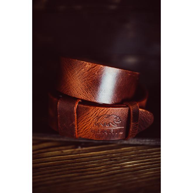 Pánský kožený pásek v karamelové barvě - Carmel