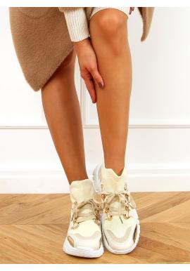 Kotníkové dámské tenisky béžové barvy s ponožkovým svrškem