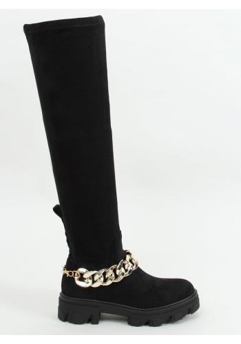 Černé semišové kozačky nad kolena s řetízkem pro dámy