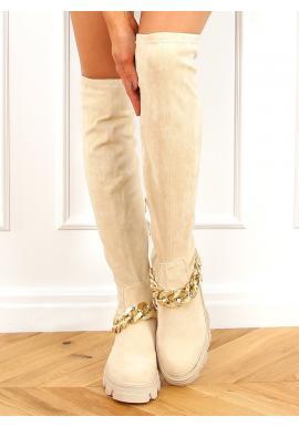 Dámské semišové kozačky nad kolena s řetízkem v béžové barvě