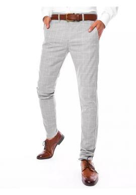 Elegantní pánské kostkované kalhoty světle šedé barvy